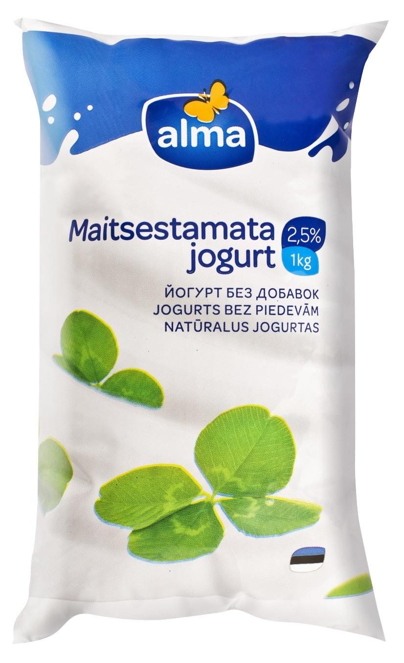 Maitsestamata jogurt kile 2,5% 1kg, ALMA