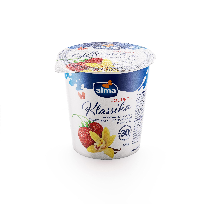 Metsmaasika-vanilli jogurt 2% 125g, VALIO