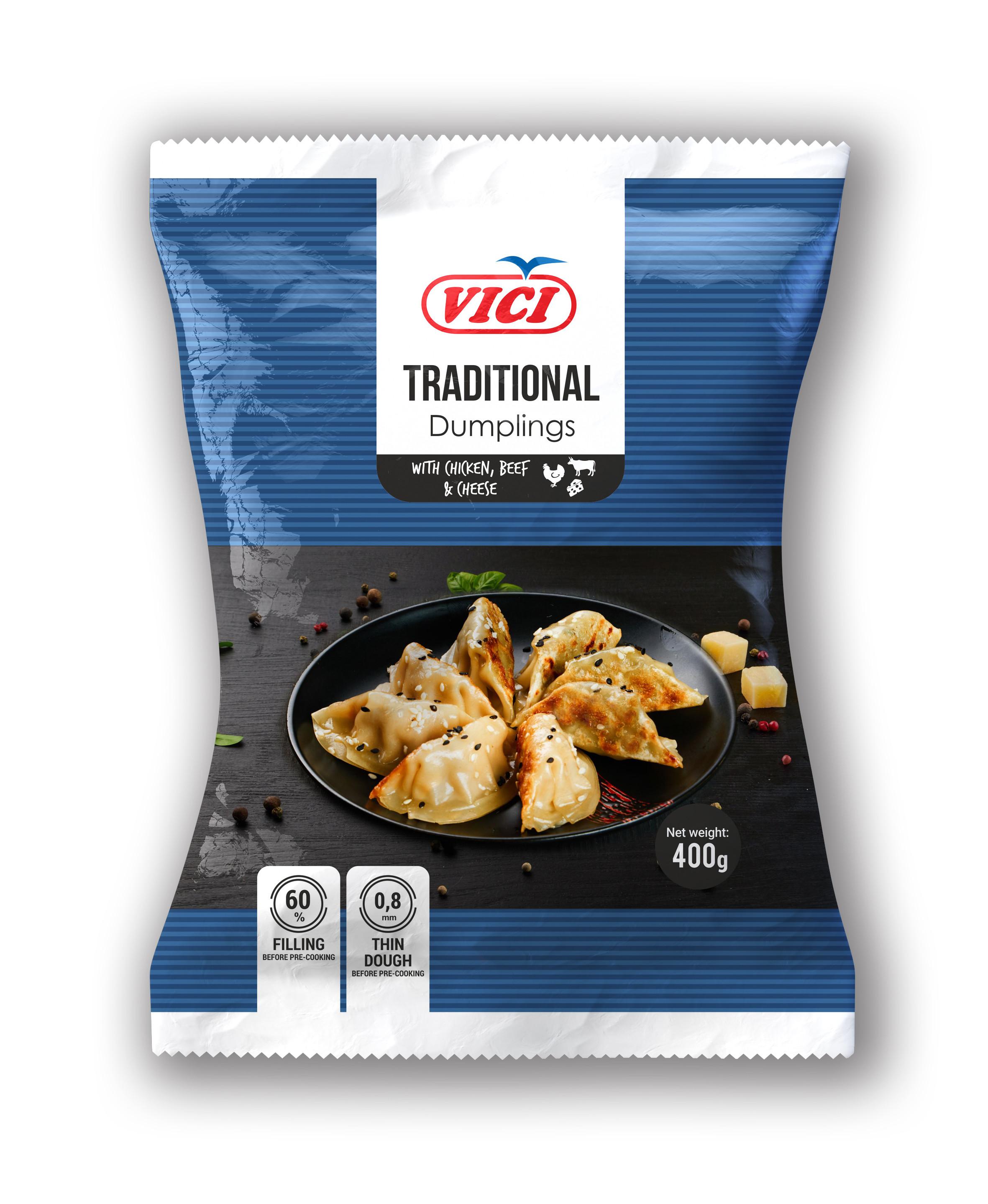 Pelmeenid kana, veiseliha, juustu Traditional style 400g VICI