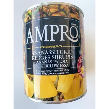 Ananassitükid 850g/490g AMPRO
