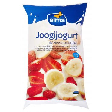 Joogijogurt maasika-banaani kile 1,5% 1kg, ALMA