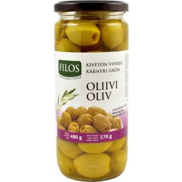 Oliivid  kreeka rohelised kivideta 480g, FILOS
